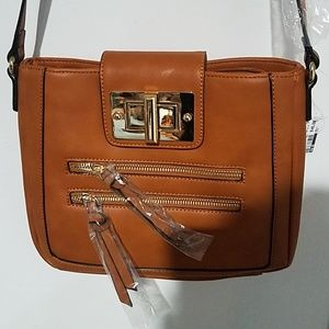 Brown, leather cross body bag